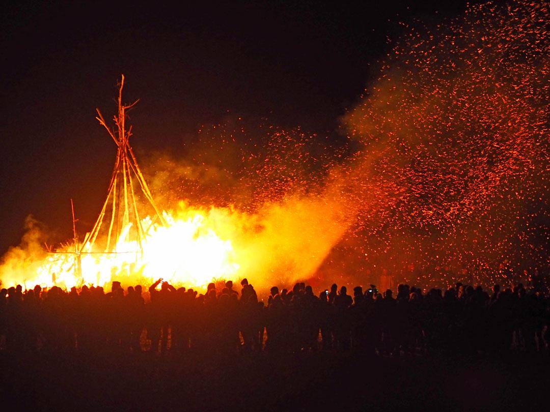 St. Peter Ording, Februar 2017, Biike brennen