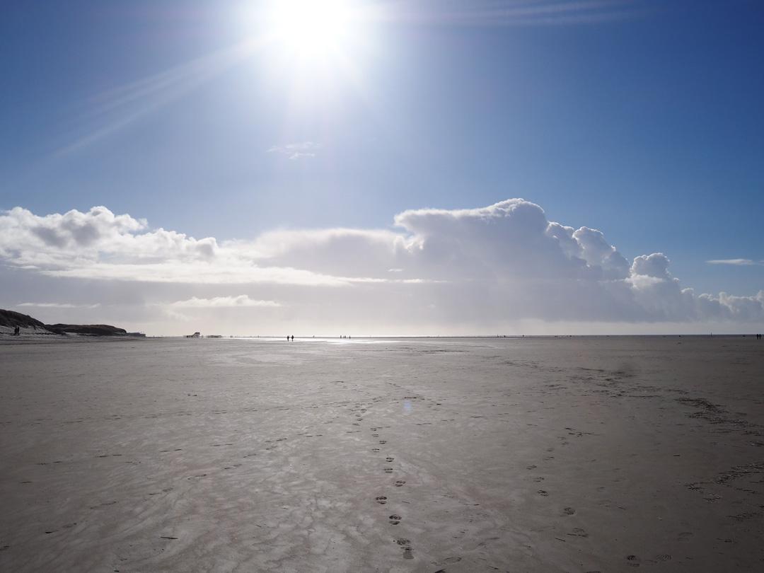 St. Peter Ording, Februar 2017, Fußspuren im Sand